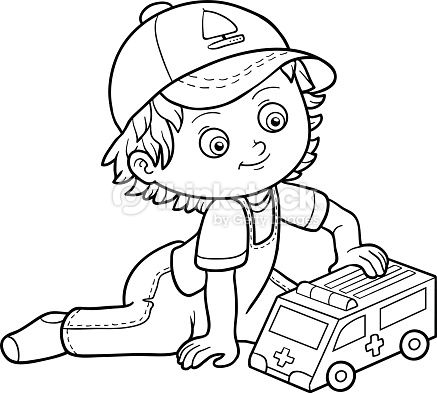 Coloring book for children. Little boy plays with