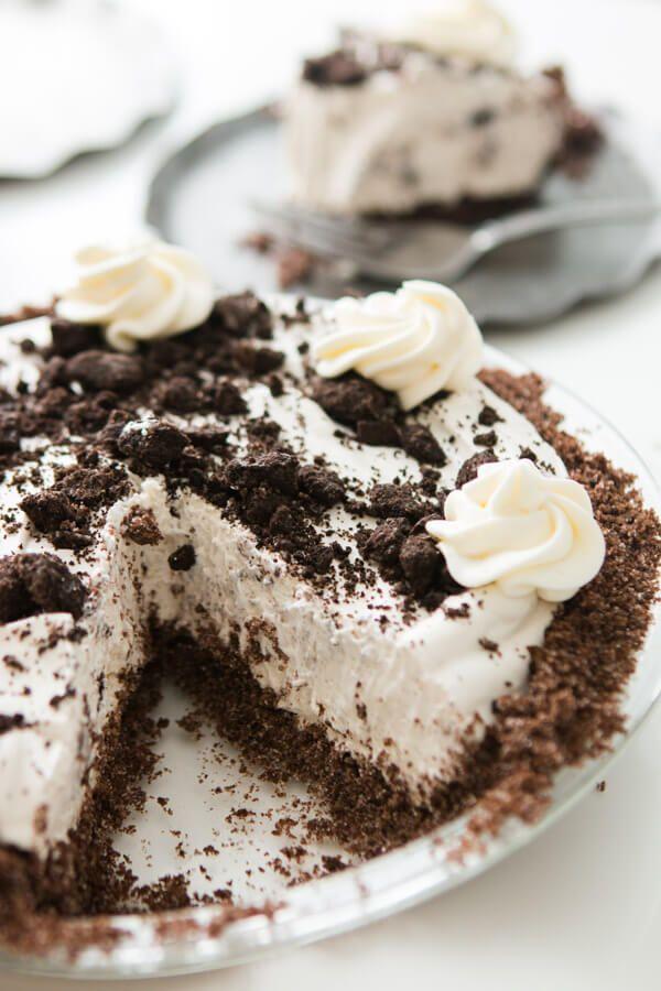 No Bake Oreo Pie With Chocolate Graham Cracker Crust Oh Sweet Basil Recipe No Bake Oreo Pie Chocolate Graham Crackers Oreo Cream Pies
