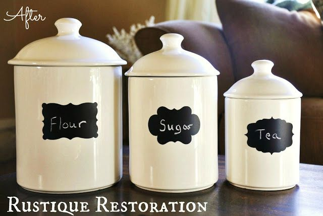 White Canisters With Chalkboard Labels