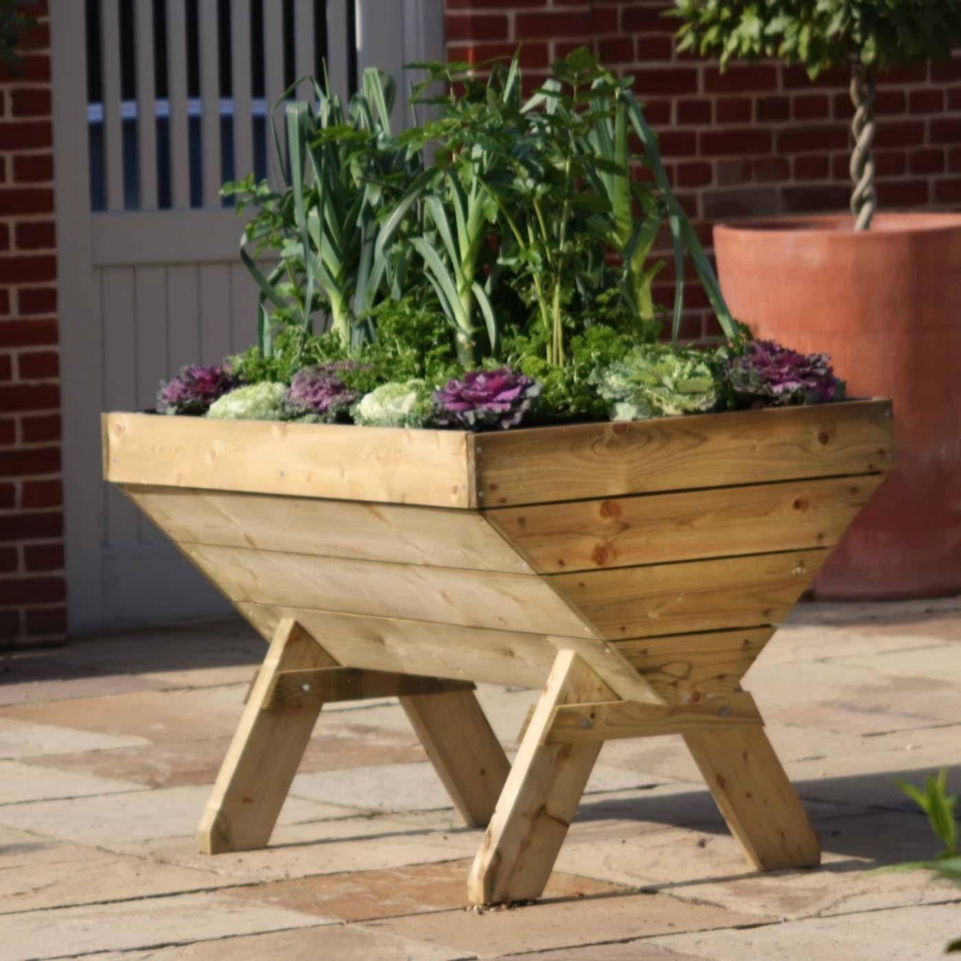 Raised Wooden Vegetable Troughs