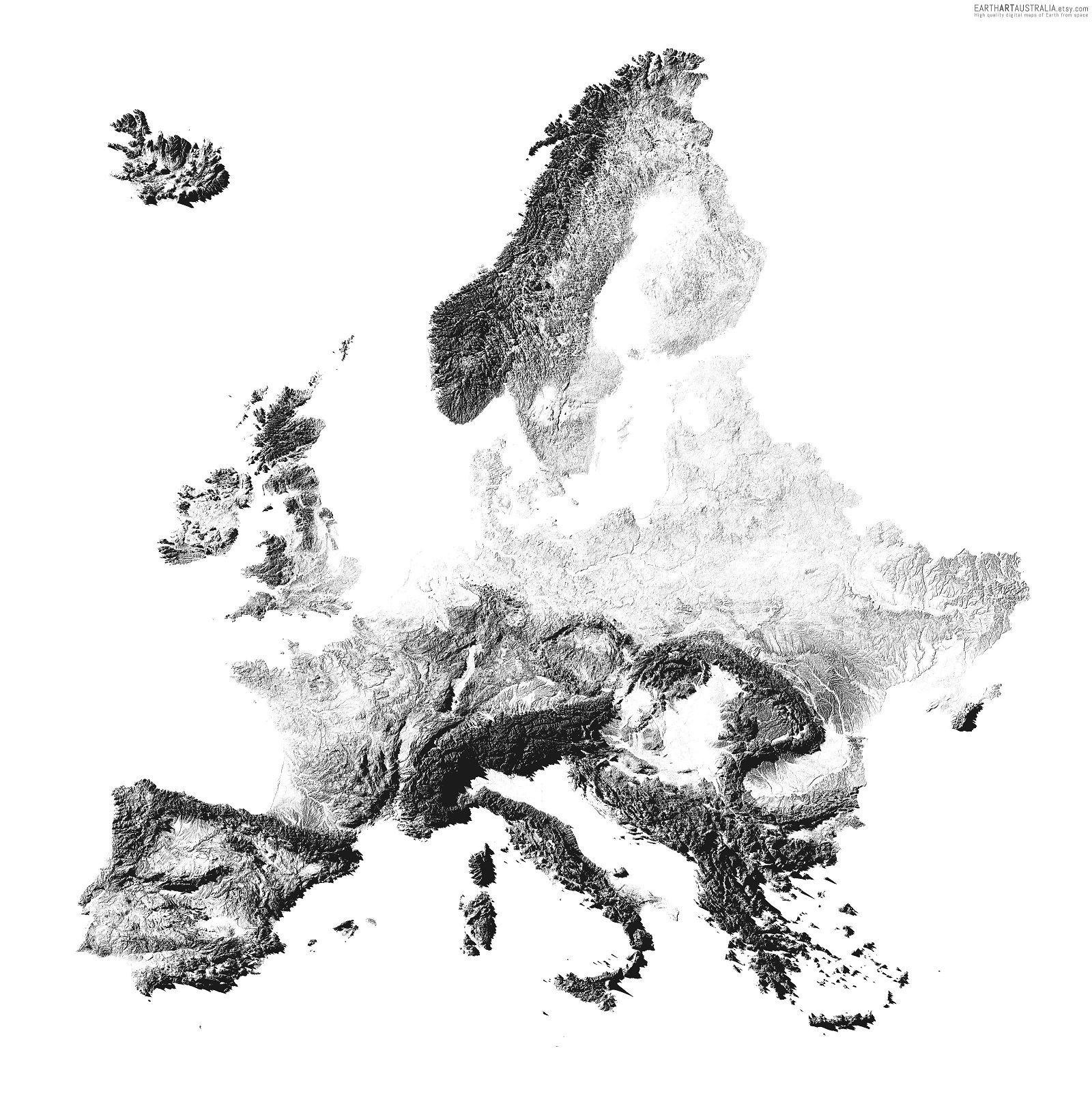 Mapa de Europa en sombras intenta recrear la vista de las sombras de las formas montañosas de nuestro continente justo después de la puesta de sol. Está creado con ArcGIS/QGIS a partir de los datos de altitud sobre el nivel del mar de Copernicus EU-DEM y de otras bases de datos cartográficas.