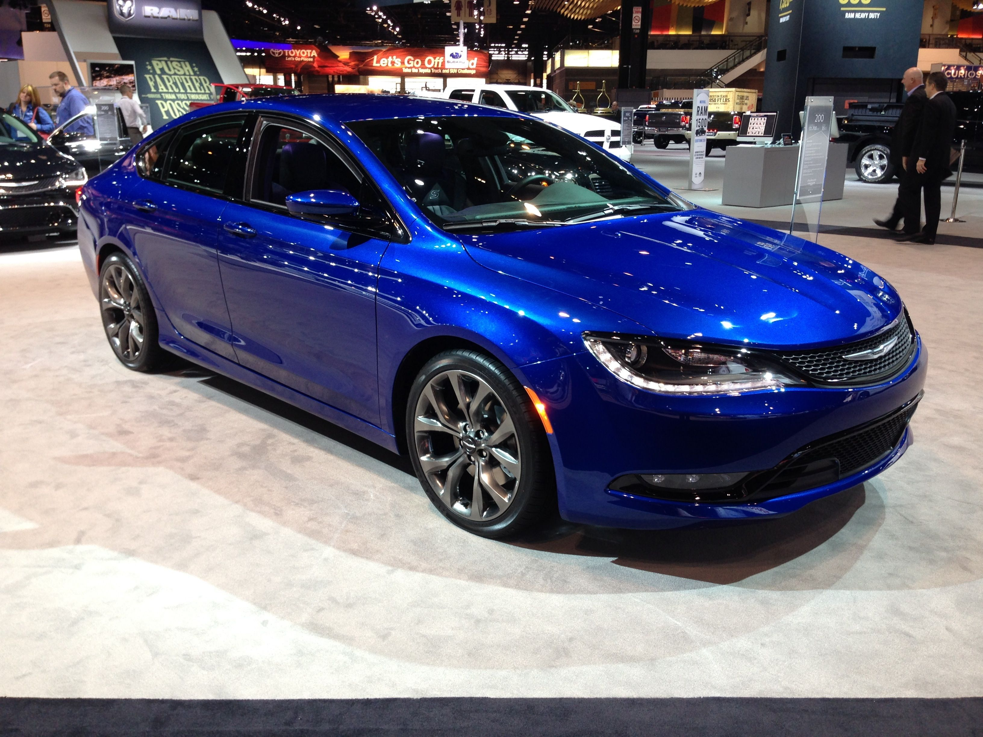 The all new 2015 chrysler 200 in vivid blue pear at the chicago auto show