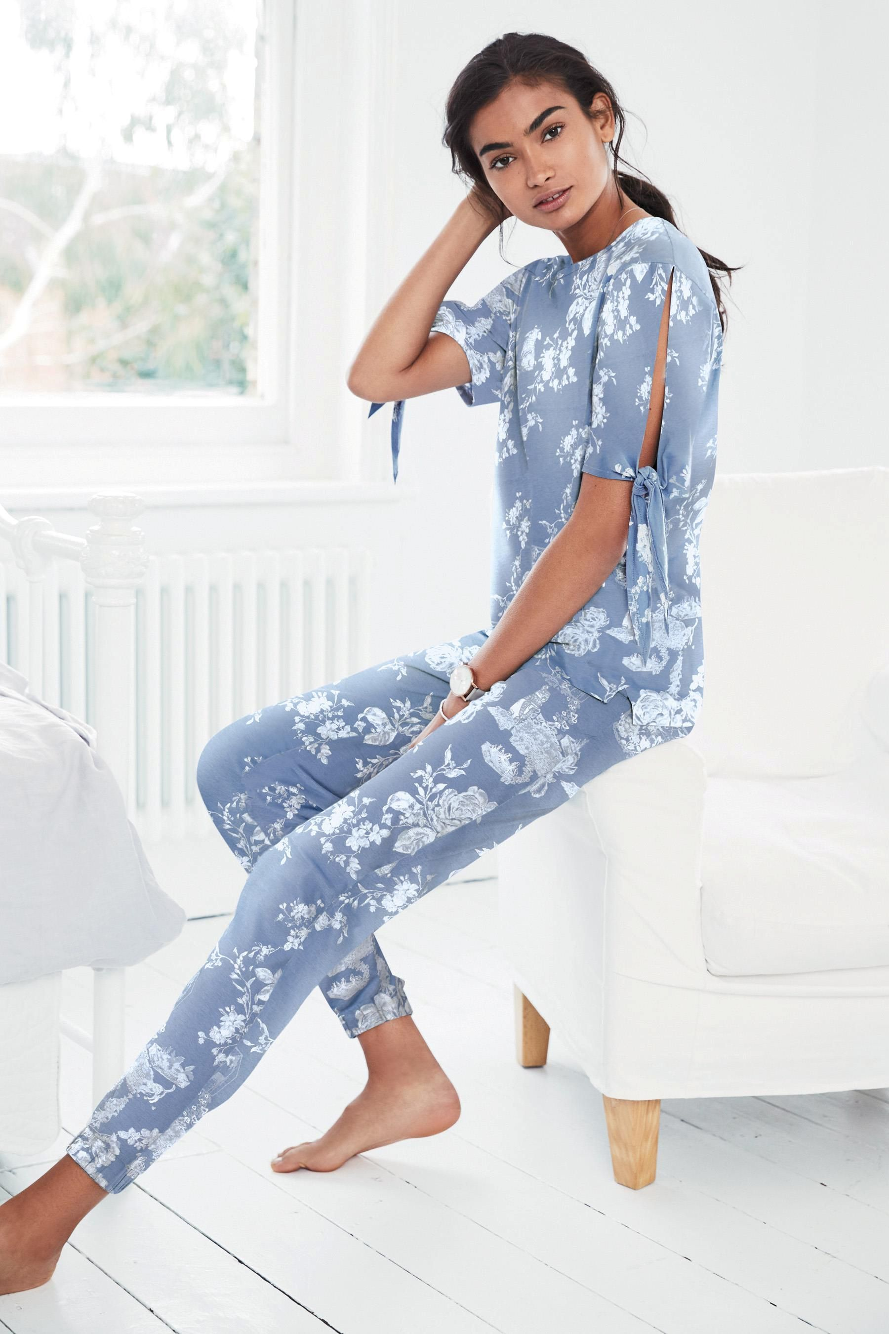 349b8d76 Buy Blue Floral Cotton Jersey Short Sleeve Pyjamas from the Next UK online  shop
