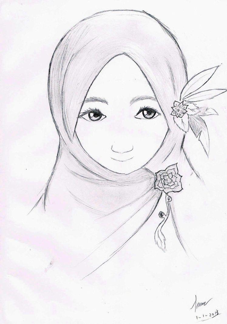 Contoh sketsa gambar wanita berhijab