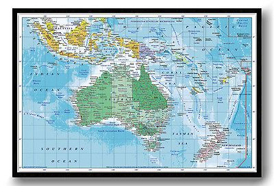 Australasia framed map pinboard australia cork pin board australasia framed map pinboard australia cork pin board includes pins sciox Images