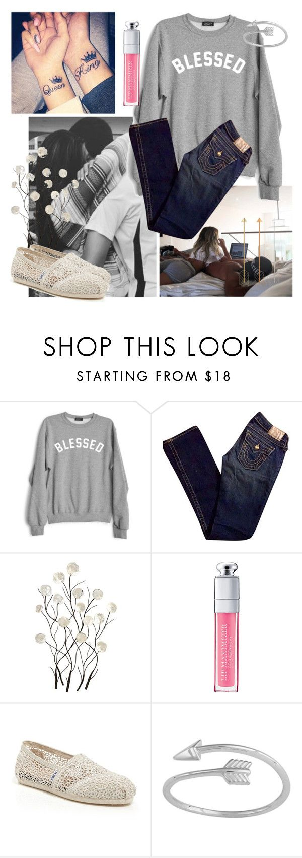 """""""So blessed to have you"""" by sarahwuzhere ❤ liked on Polyvore featuring Private Party, True Religion, Universal Lighting and Decor, Christian Dior and TOMS"""