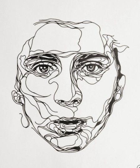 Contour Line Drawing Eye : Kris trappeniers portraits découpés toile tableau