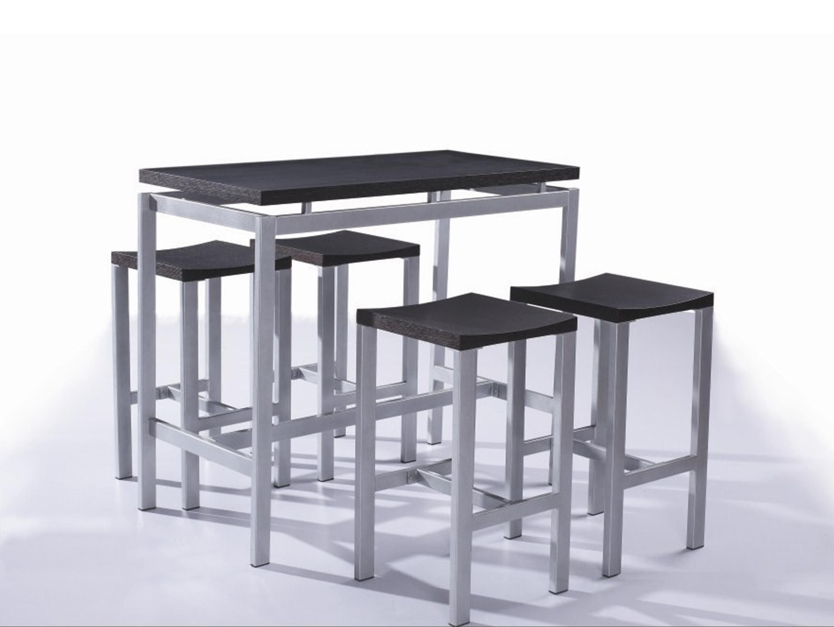 Table haute et 4 tabourets contemporain noir madrid - Ensemble table bar ...