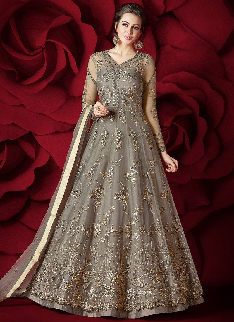74853b48a0 Grey Heavy Embroidered Net Anarkali Suit | Pakistani wedding outfits ...