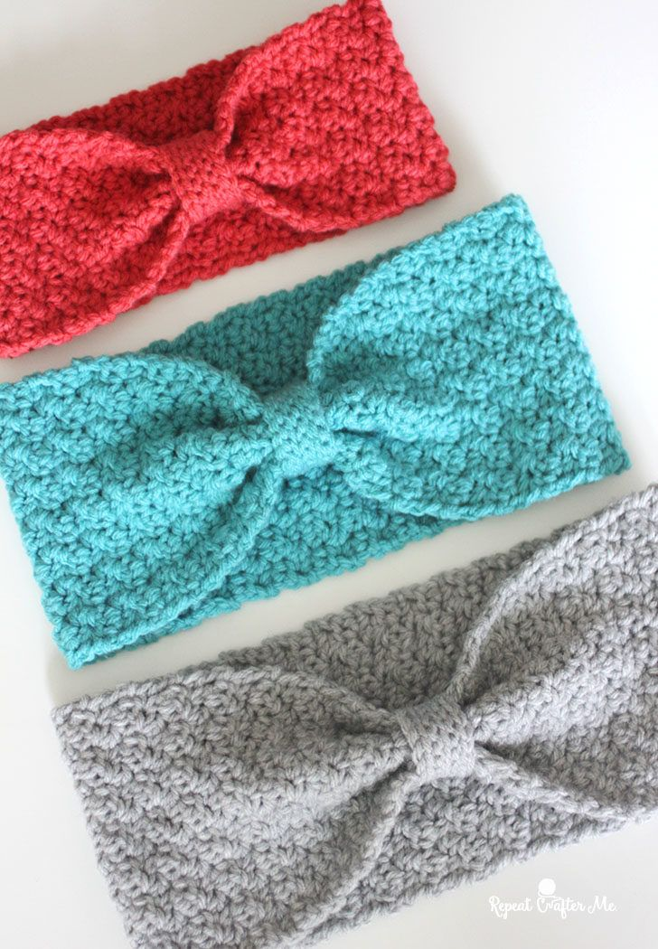 Crochet Griddle Stitch Winter Headband - Repeat Crafter Me