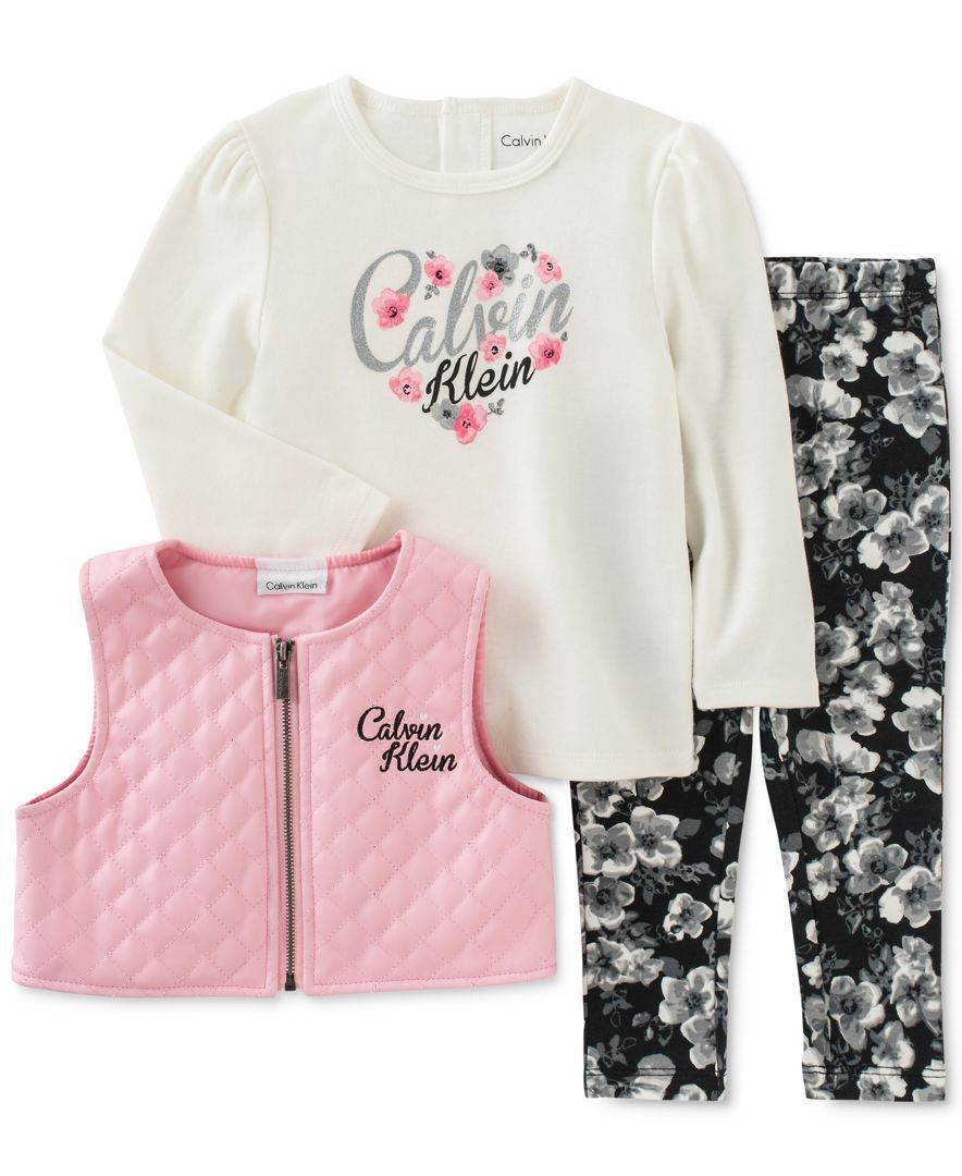 Calvin Klein Baby Girls 3 Pc Faux Leather Vest T Shirt Leggings Set Calvin Klein Baby Baby Girl Clothes Toddler Girl Outfits