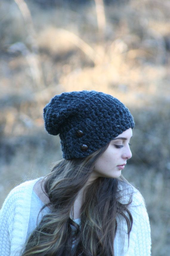 Chunky Crochet Slouchy Beanie Hat With Two by crochetgallery