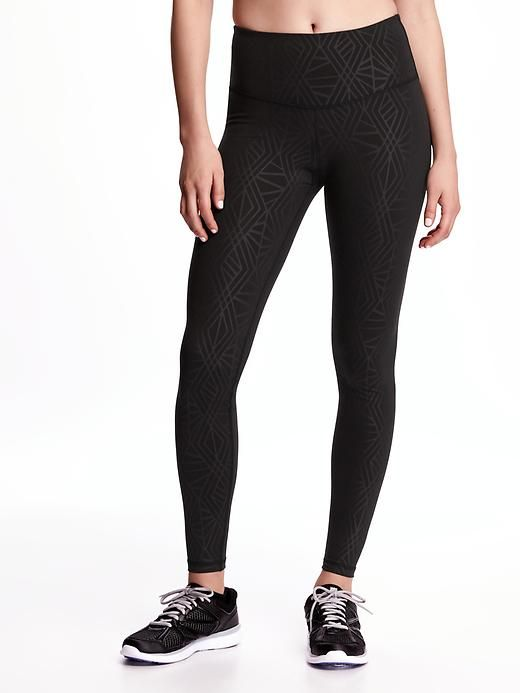 bbd24930139c0 Old Navy Go-Dry High-Rise Printed Compression Leggings in Black Pearl