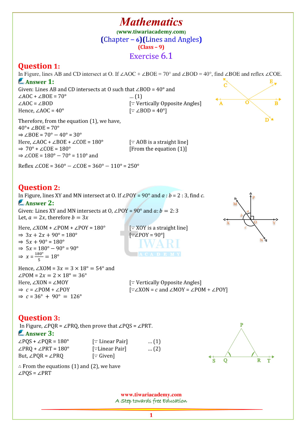 Ncert Solutions For Class 9 Maths Chapter 6 Lines And Angles 2019 20 Math Chapter Solutions [ 1414 x 1000 Pixel ]