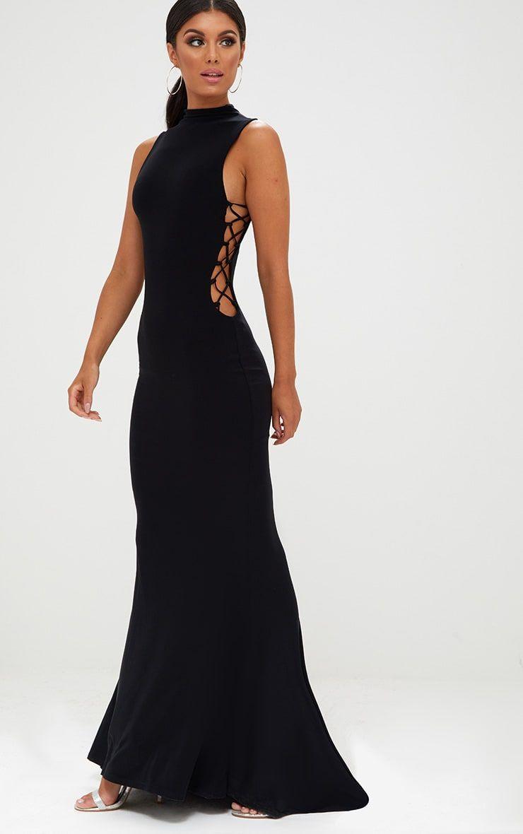 Black Lace Up Side Maxi Dress | Dresses | Pinterest | Black laces ...