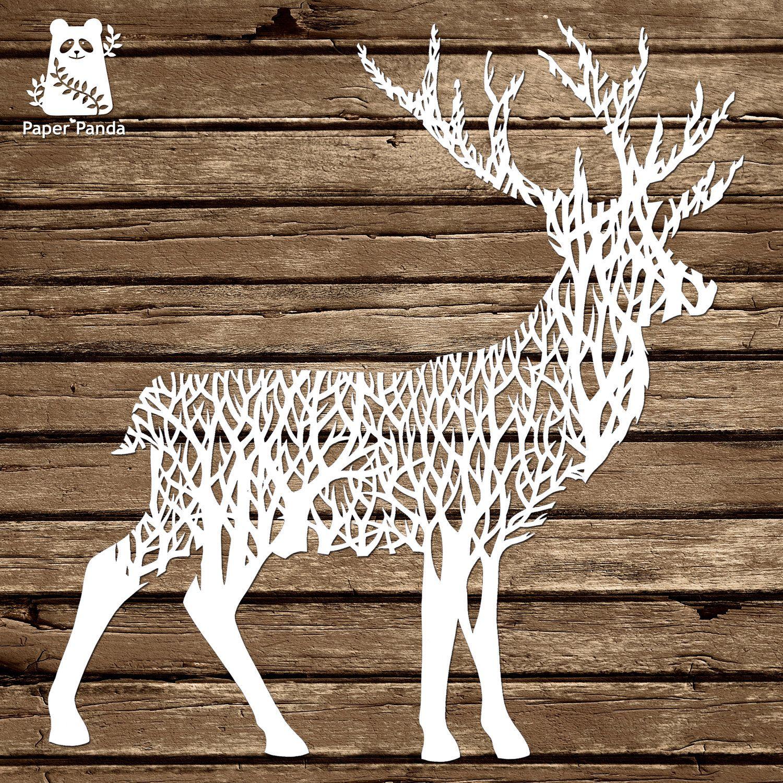Paper panda papercut diy papercut template forest stag paper panda papercut diy papercut template forest maxwellsz
