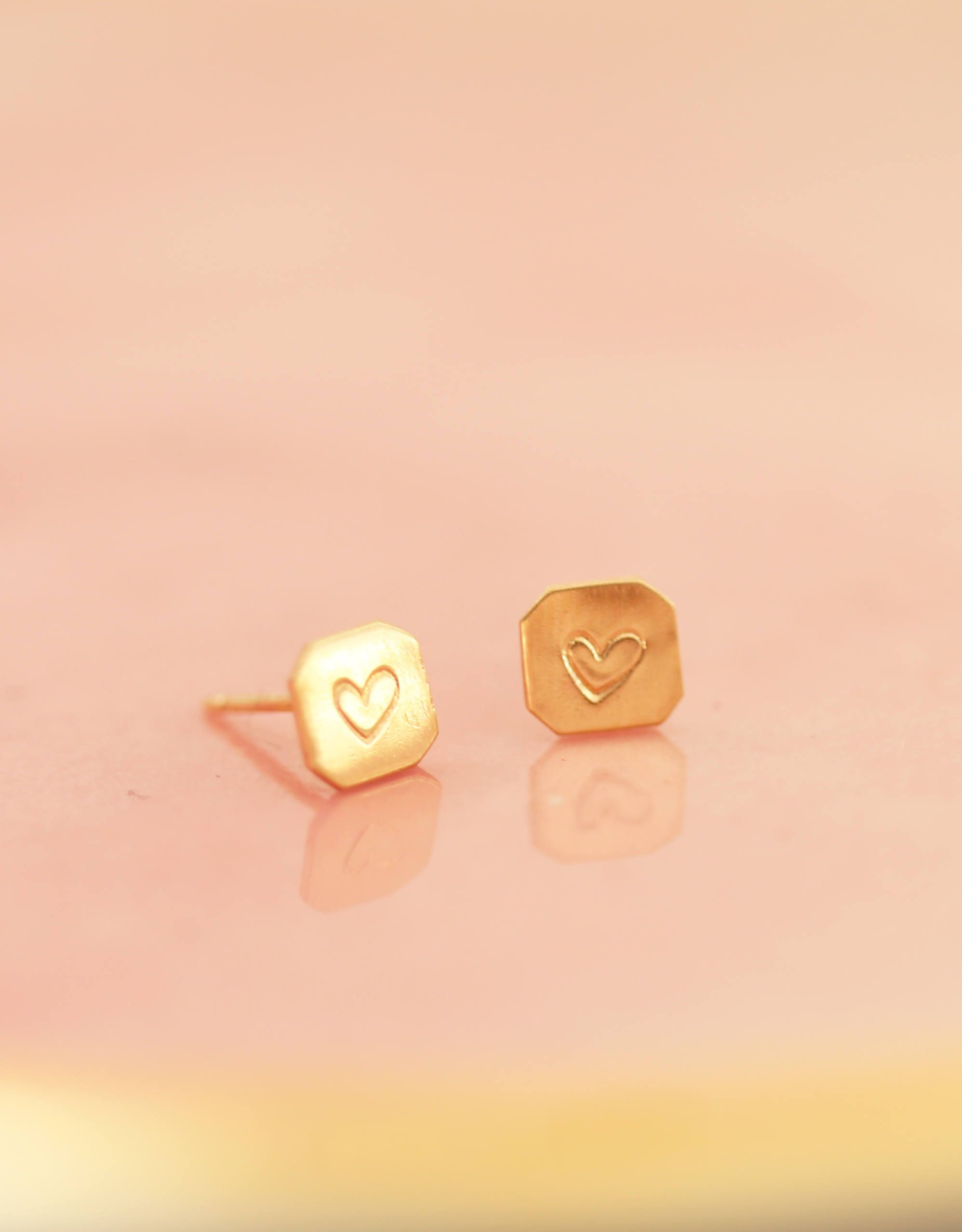Valentines Day Gold Heart Stud Earrings For Her Studs 14k Wife Gift Friend Golden Birthday Jewelry By Erinpelicano