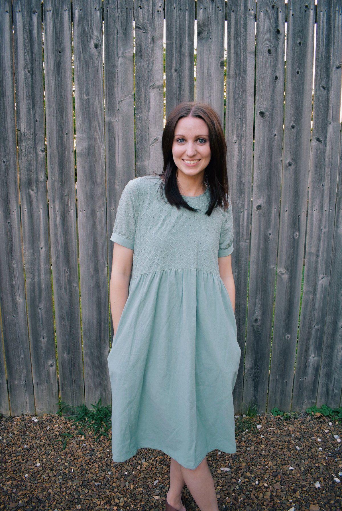 Linen eyelet dress linen dress lake sage color short