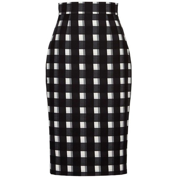Martin Grant Black White Check Check Pencil Skirt ($1,335 ...