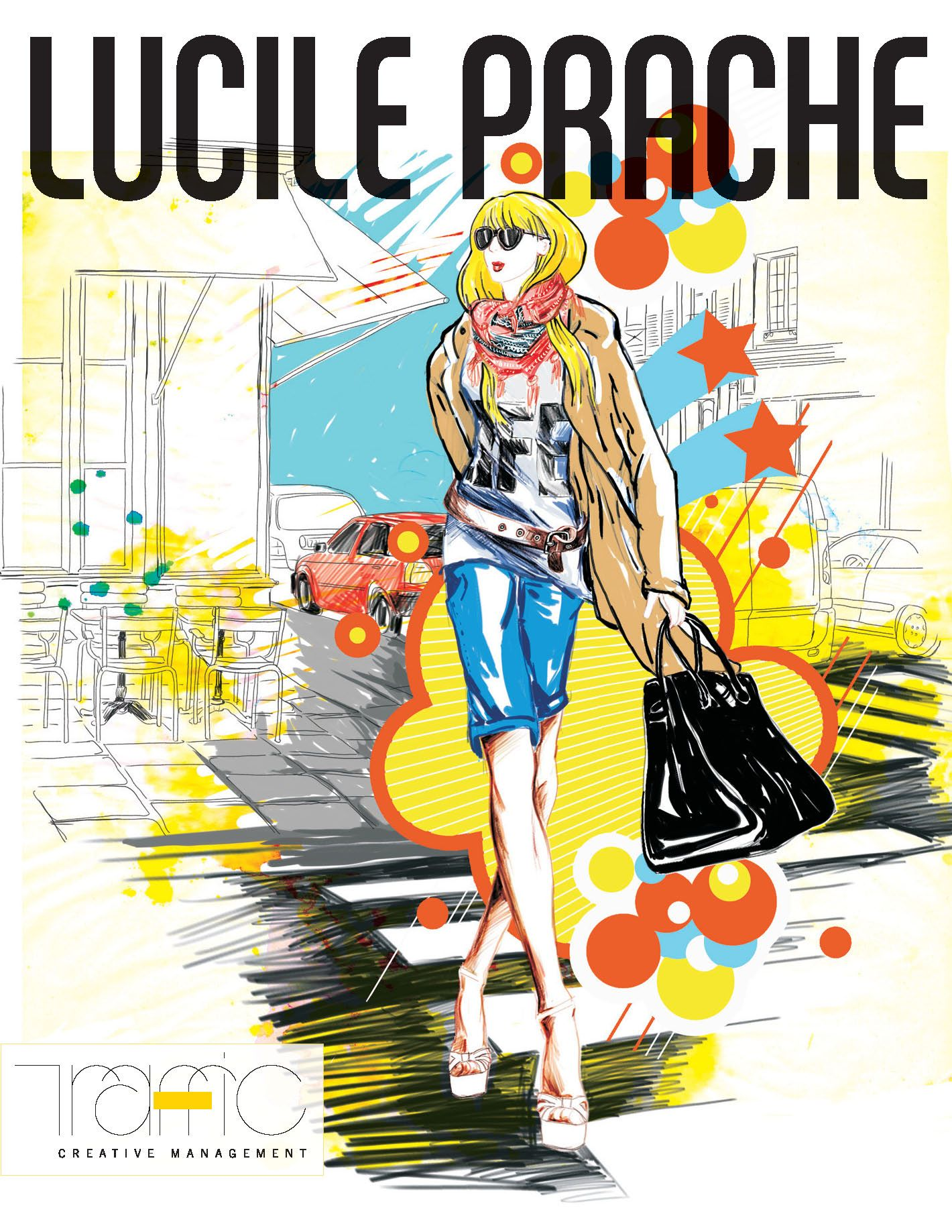 Charged with youthful energy and vitality, Lucile Prache's vibrant illustrations have amassed a vast following within the international illustration scene. Her energetic color palette combined with a unique artistic flare immediately captivated the attentions of numerous leading European fashion publications. As a result, Lucile has worked extensively with Marie Claire, Biba, Depeche Mode, Avantages, Phosphore and Muze magazines.#LucilePrache  #TrafficNYC #FashionIllustration #CuteBag