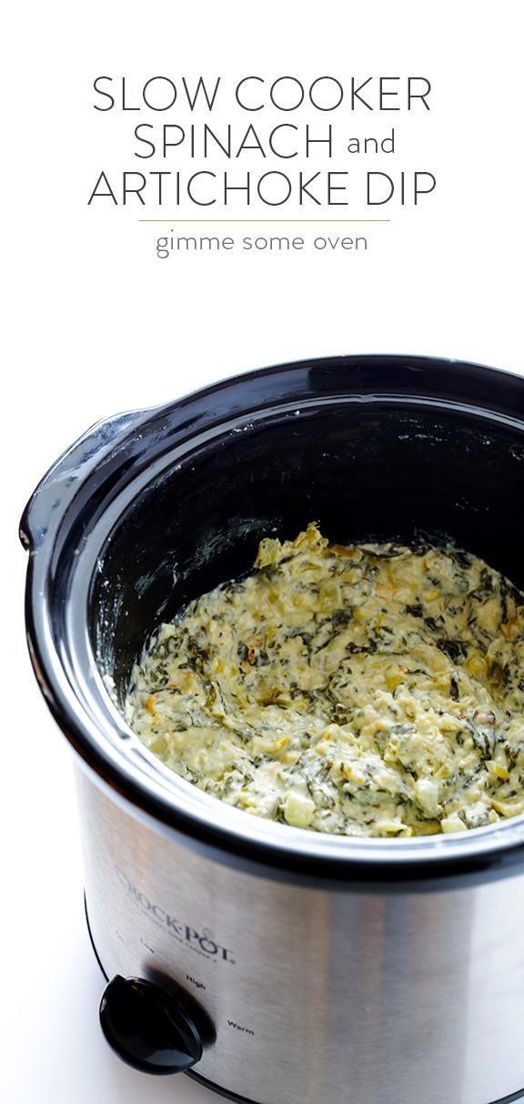 Slow Cooker Spinach Artichoke Dip #crockpotspinachandartichokedip