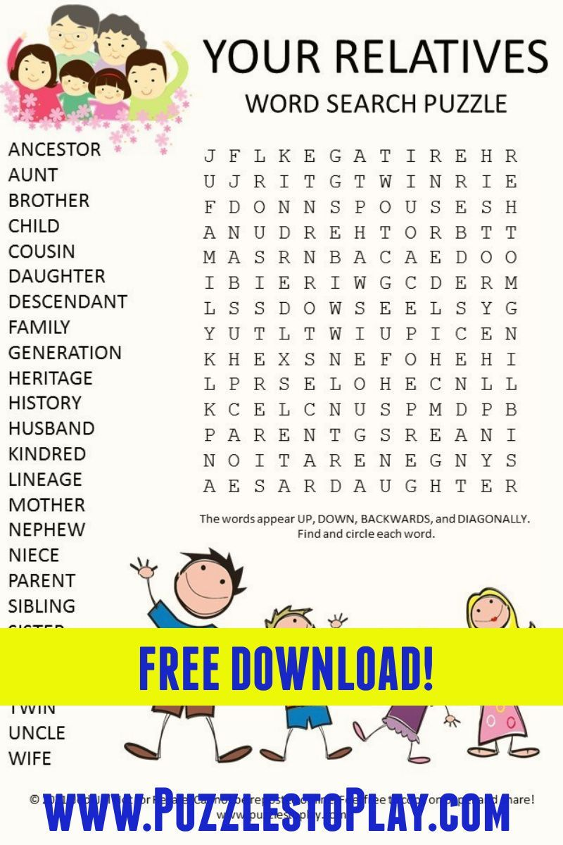 Your Relatives Word Search Puzzle In 2021 Word Search Puzzle Word Find Free Word Search Puzzles [ 1200 x 800 Pixel ]