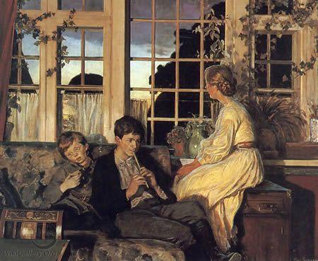 Moeder met kinderen bij een raam tijdens de schemer door Viggo Pedersen (1854 - 1926)