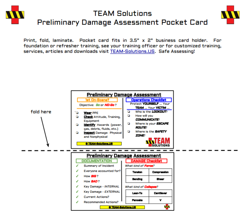 Preliminary Damage Assessment Pocket Card for Disaster Response ...