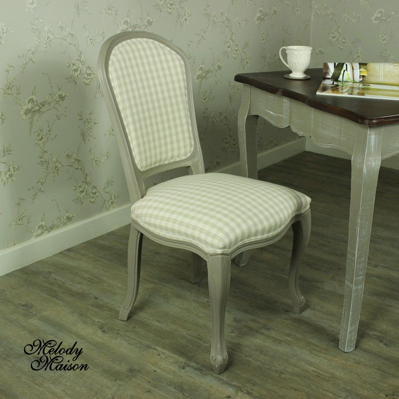 Grey Dining Chair With Beige Striped Padded Seating