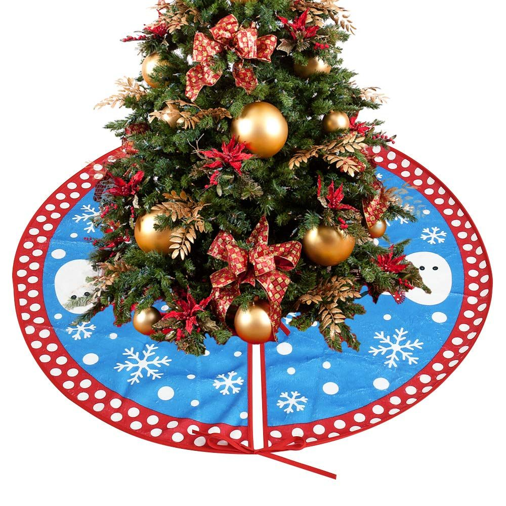 31In Blue Christmas Tree Skirts Snowman and Snowflake Xmas
