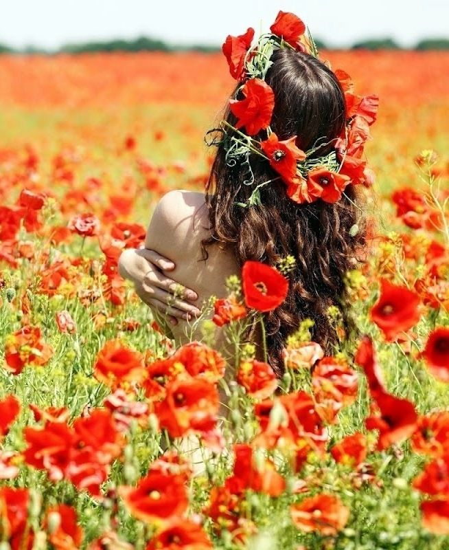 Woman Flowers Field ... Poppies Field....
