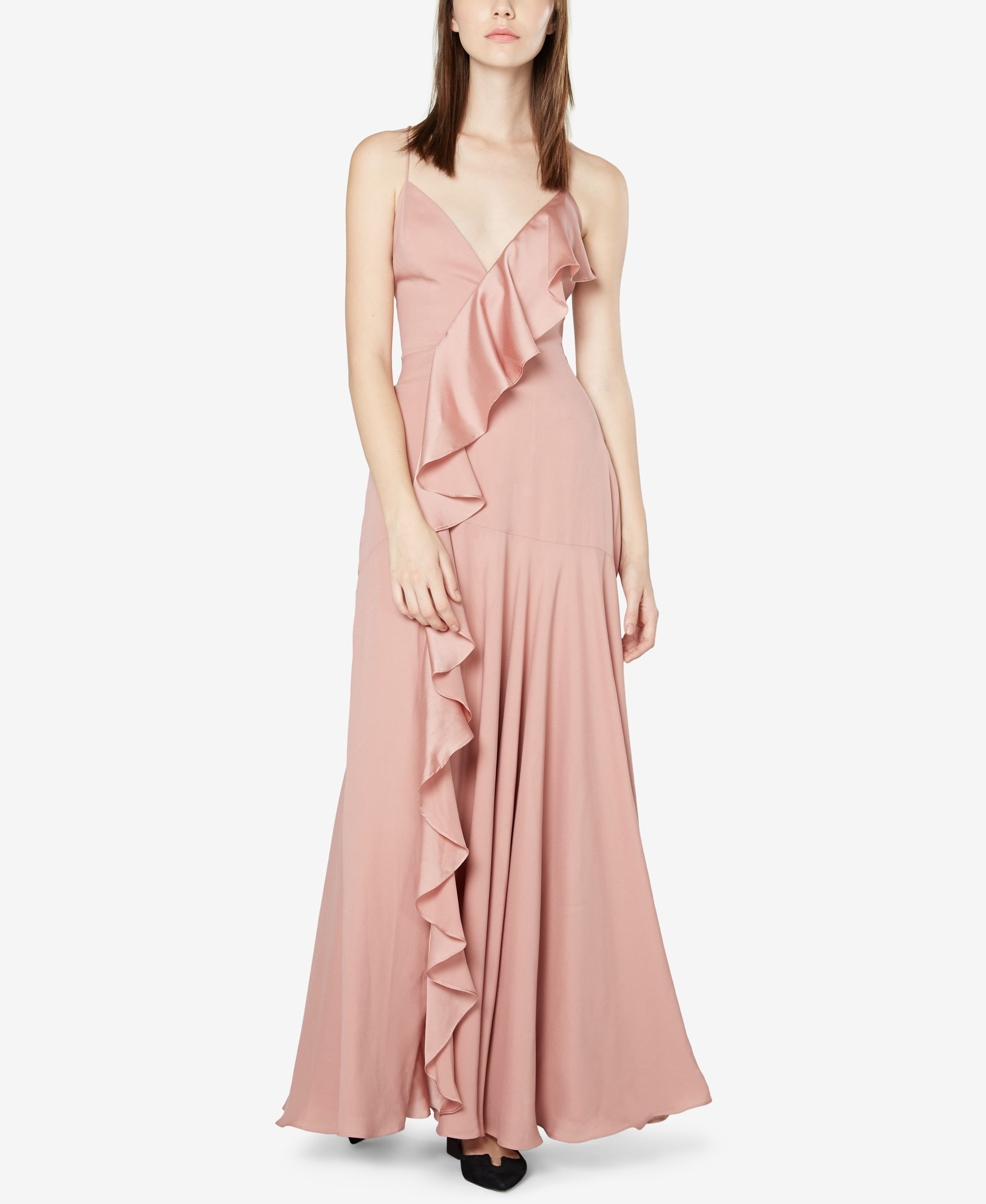 Fame and Partners Ruffled Open-Back Gown