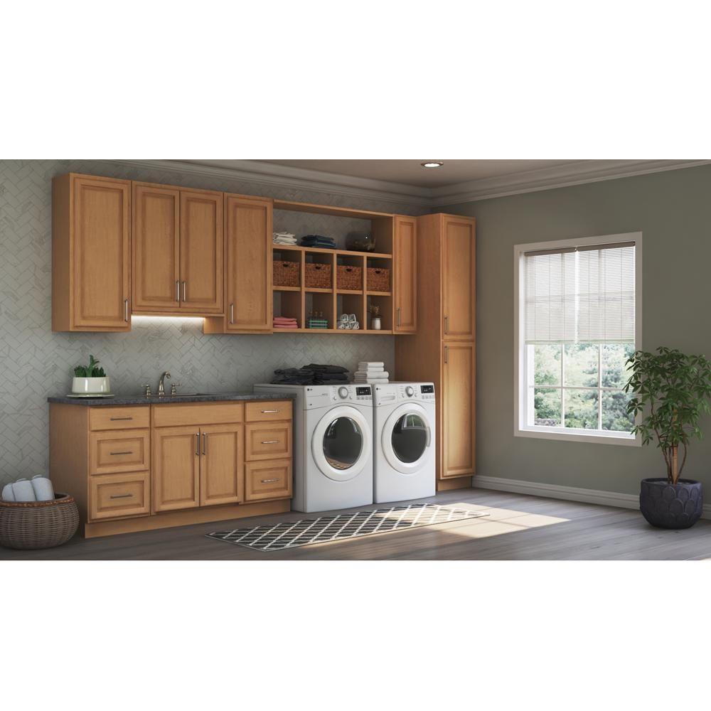 Hampton Bay Hampton Assembled 9x30x12 In Wall Kitchen Cabinet In Medium Oak Kw930 Mo The Home Depot Home Hampton Bay Custom Kitchen Cabinets