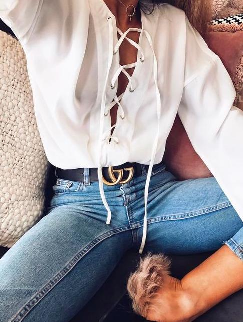 ba3dba4e5 White blouse, blue denim & Gucci belt   Outfit in 2019   Fashion ...