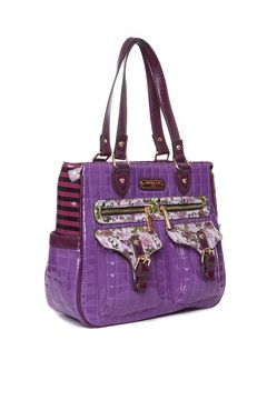 FLOWER STITCHED HANDLE BAG - PURPLE  $79.99