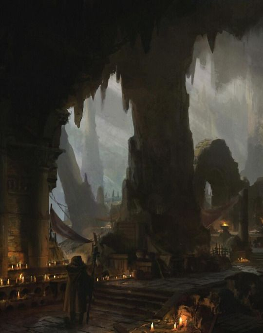 Underdark, black market city, hidden in the mountain of