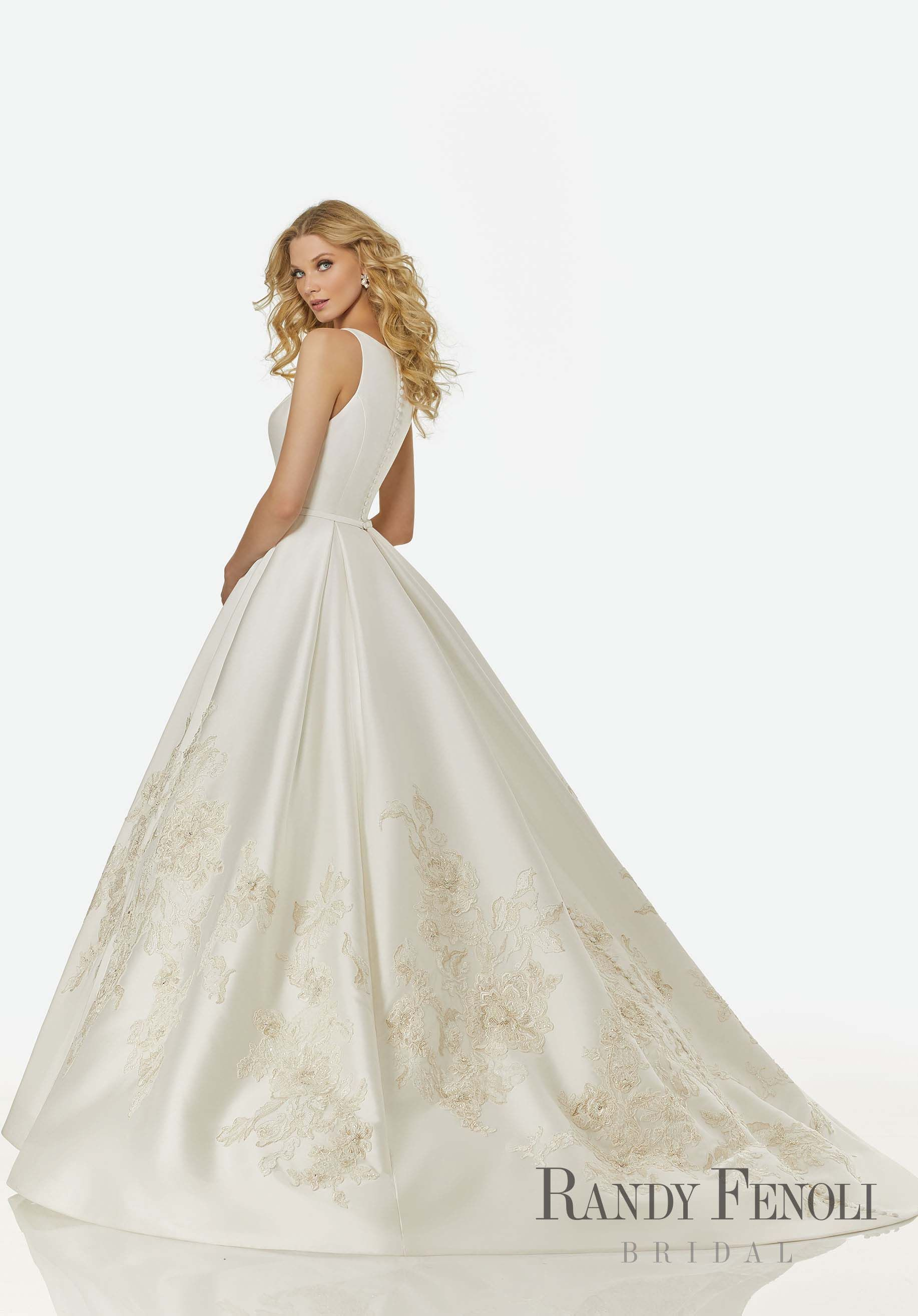 34d0672cc950f Randy Fenoli Bridal, Grace Wedding Dress | Style 3404. Beaded Floral  Appliqués on a Sleeveless Mikado Ball Gown with Modified and Modest Sabrina  Neckline ...