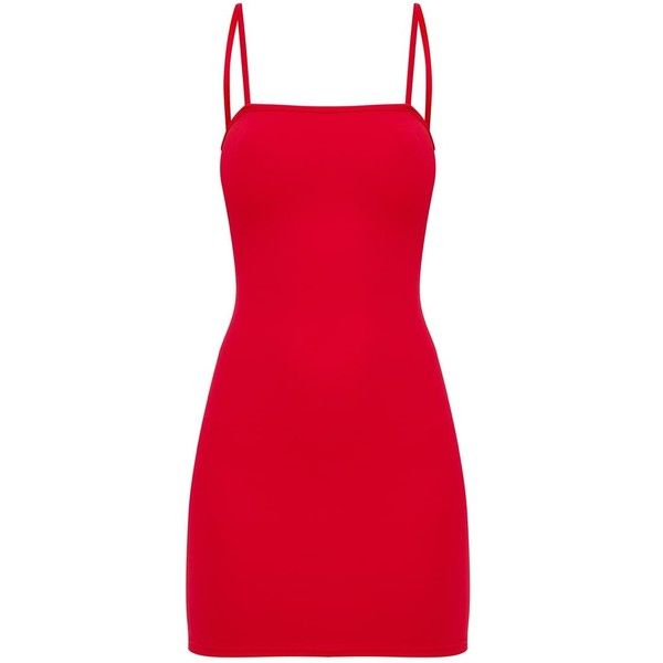 Red Straight Neck Bodycon Dress (54.630 COP) ❤ liked on Polyvore featuring dresses, short dresses, bodycon dresses, red bodycon dress, red body con dress and red dress