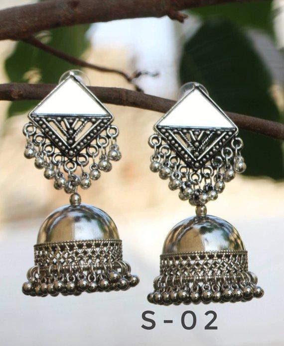 7fe85c119 Afghani jewelry, floral stud jhumkas,indian jewelry, traditional jewelry,German  silver, alpaca silve