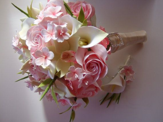 Clay Bridal Bouquet Cherry Blossom Bouquet Made To Order