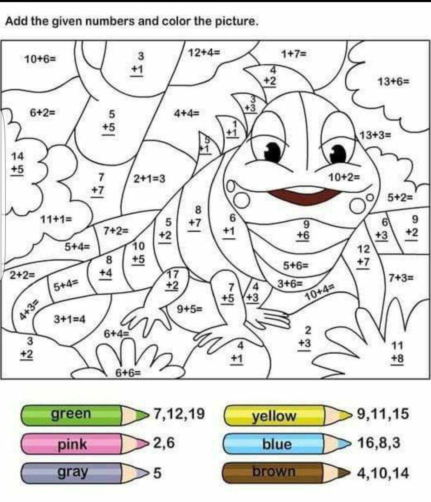 Math colouring | Education for the littlelen | Pinterest