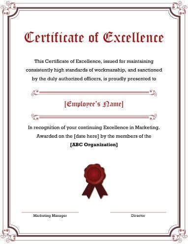 Certificate Of Recognition Template Safety Award Excellence Sample