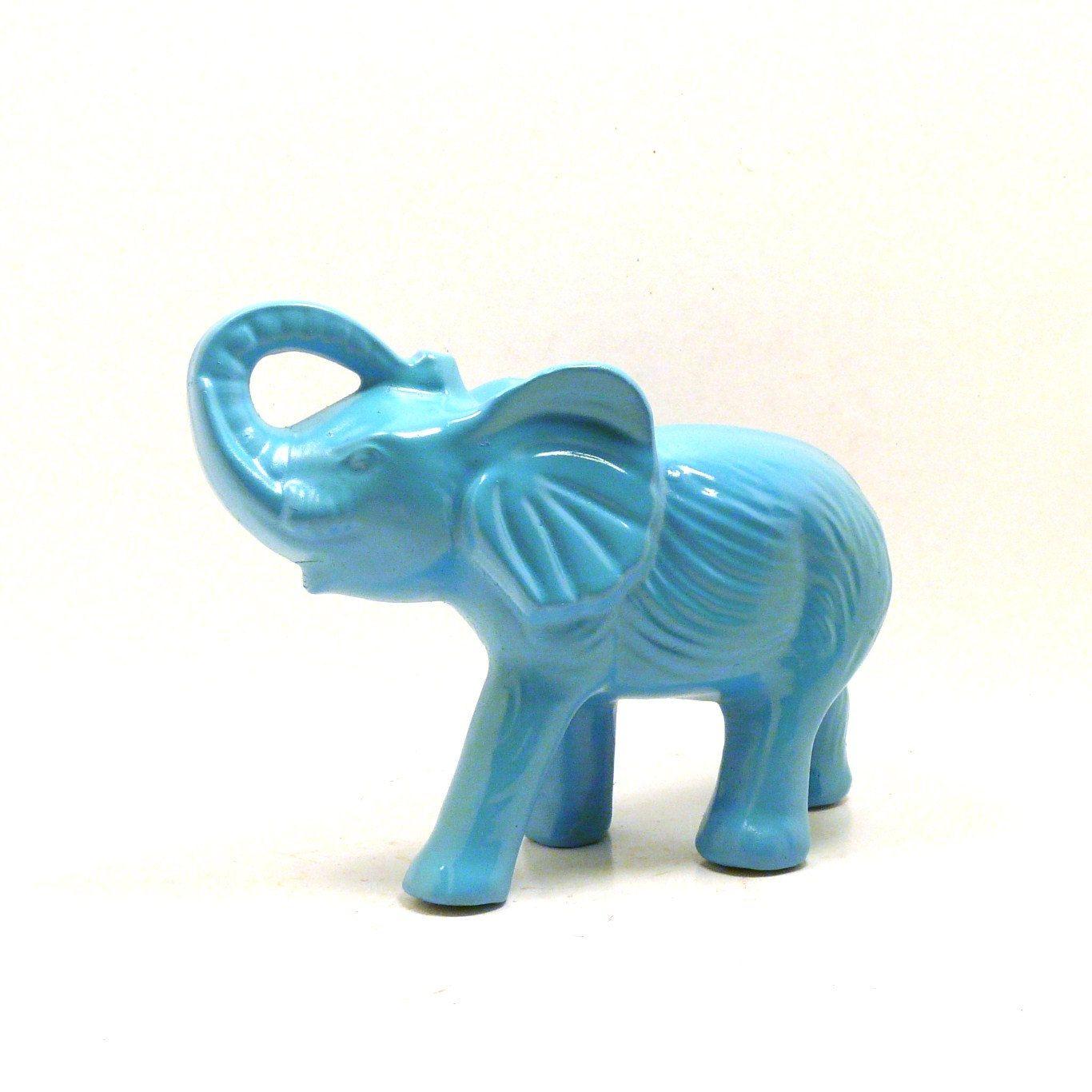 Bohemian elephant figurine // turquoise, home decor, painted ...