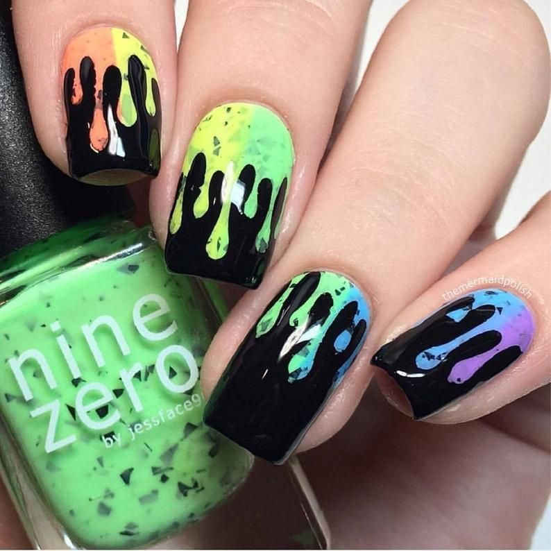 Slime Drips Stencils For Nails Halloween Nail Stickers Nail Etsy In 2020 Short Acrylic Nails Designs Drip Nails Pretty Nail Art Designs