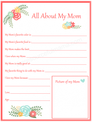 All About My Mom Mother's Day Printable for Kids | All about mom ...