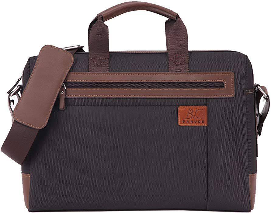 fefb4c5c20 Amazon.com  Banuce Waterproof Nylon and Faux Leather Briefcase for Men  Business Tote Bag