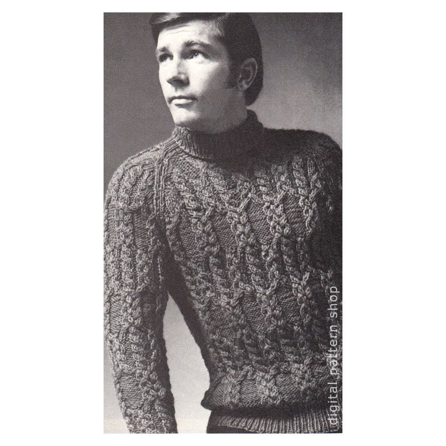 Mens sweater knitting pattern braided cable raglan sweater knit mens sweater knitting pattern braided cable raglan sweater knit turtleneck pullover sweater pattern pdf instant download bankloansurffo Choice Image