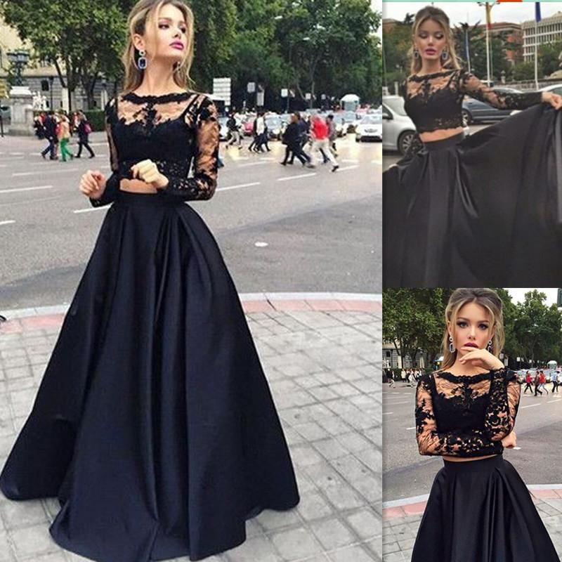 Long Sleeves Prom Dresses Black Two Pieces Lace Top And Satin Sheer ...