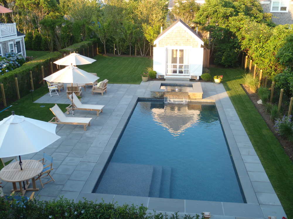Backyard Pool Landscaping Image By Southern Charm Backyard Pools On Top Pool Landscaping Tips In 2020 Rectangle Pool Modern Pools