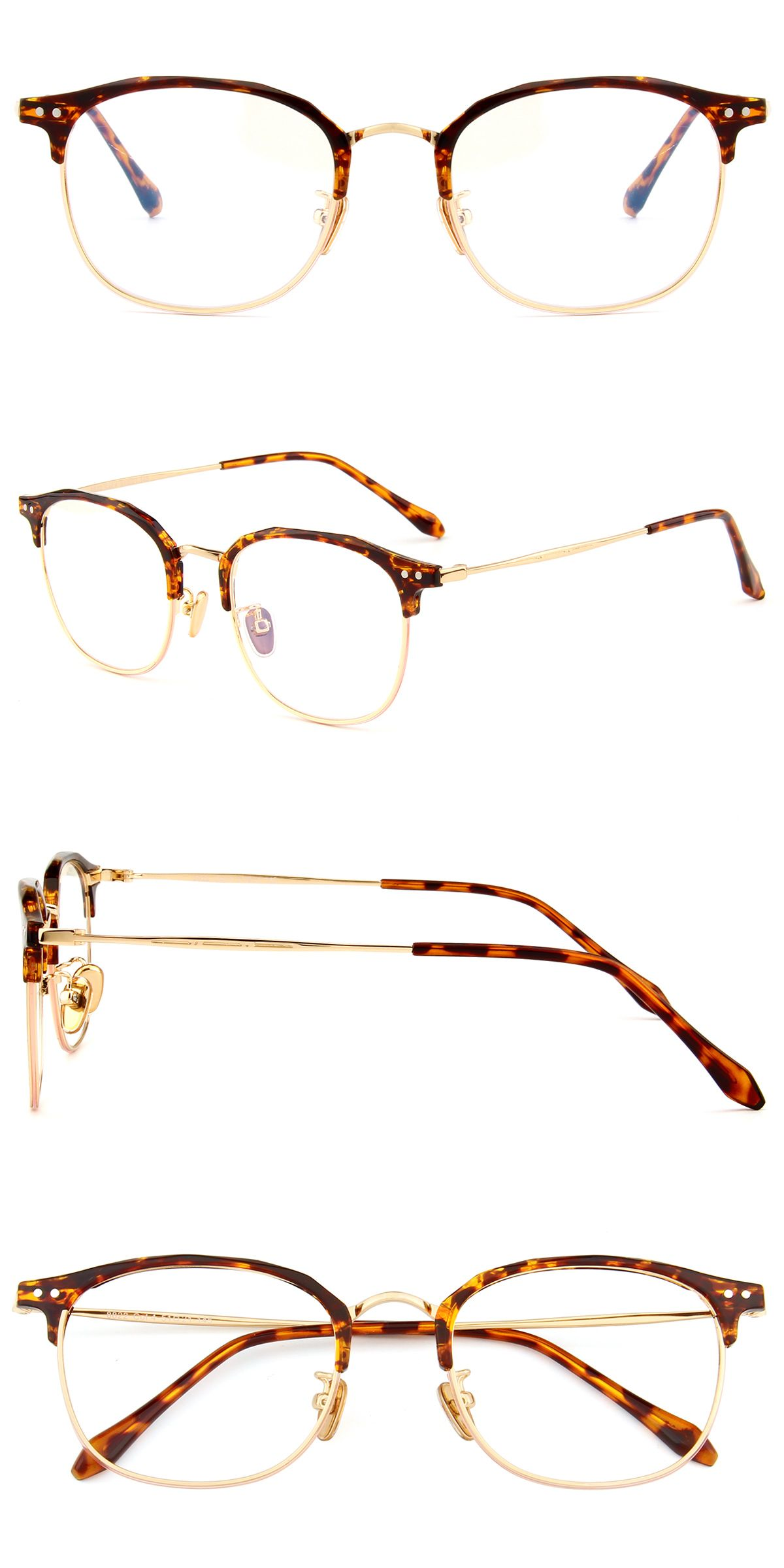 8822 Tortoise And Gold Retro Glasses Glasses Fashion Browline